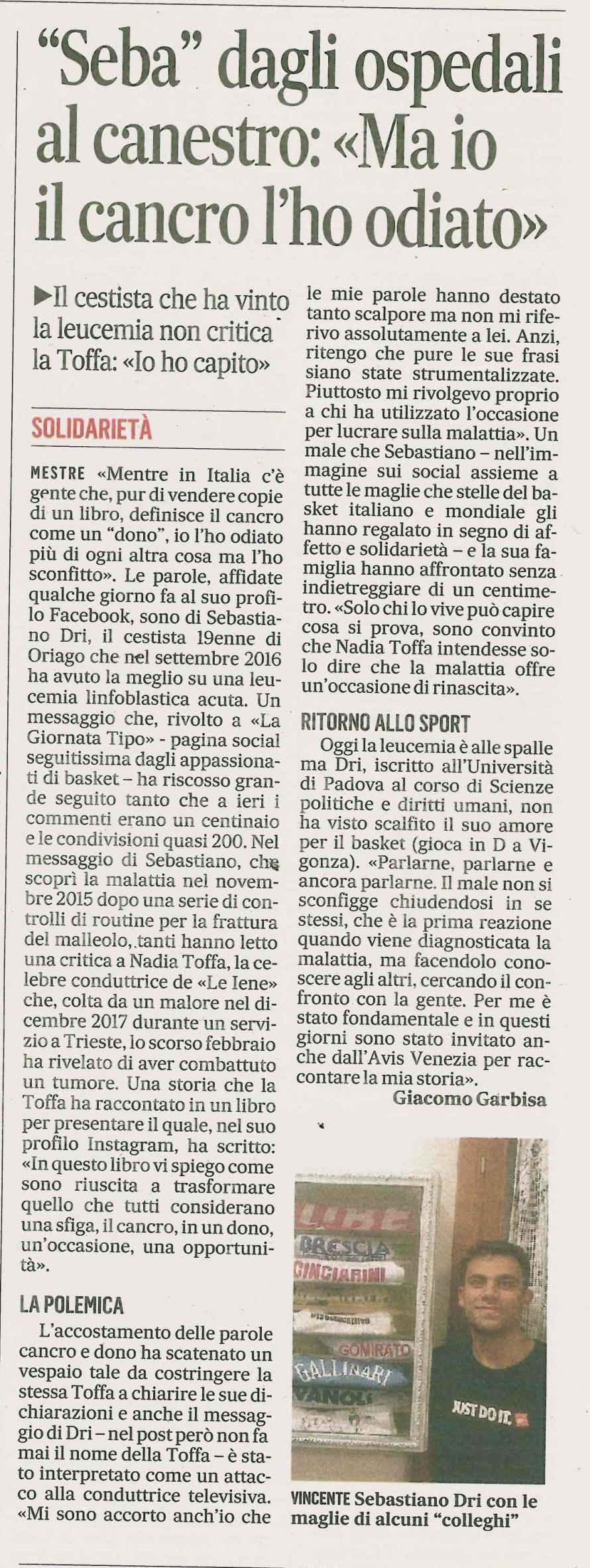 Gazzettino 9.OTT.18 2